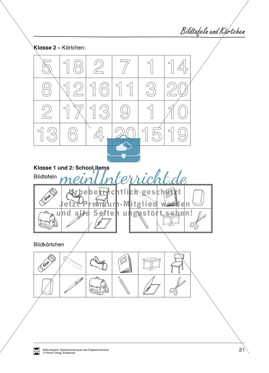 Vokabel-Lernspiel: Lotto - School Items, Lunch, Hobbies Preview 2