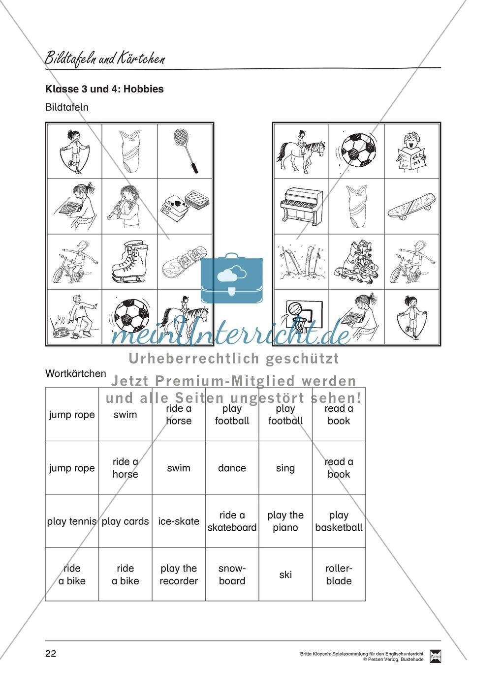 Vokabel-Lernspiel: Lotto - School Items, Lunch, Hobbies Preview 3