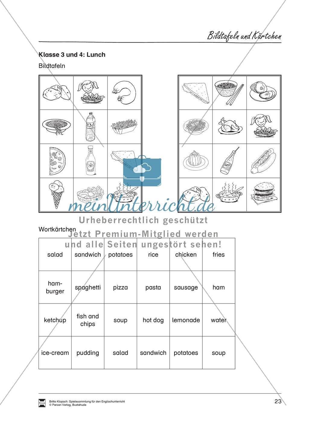 Vokabel-Lernspiel: Lotto - School Items, Lunch, Hobbies Preview 4