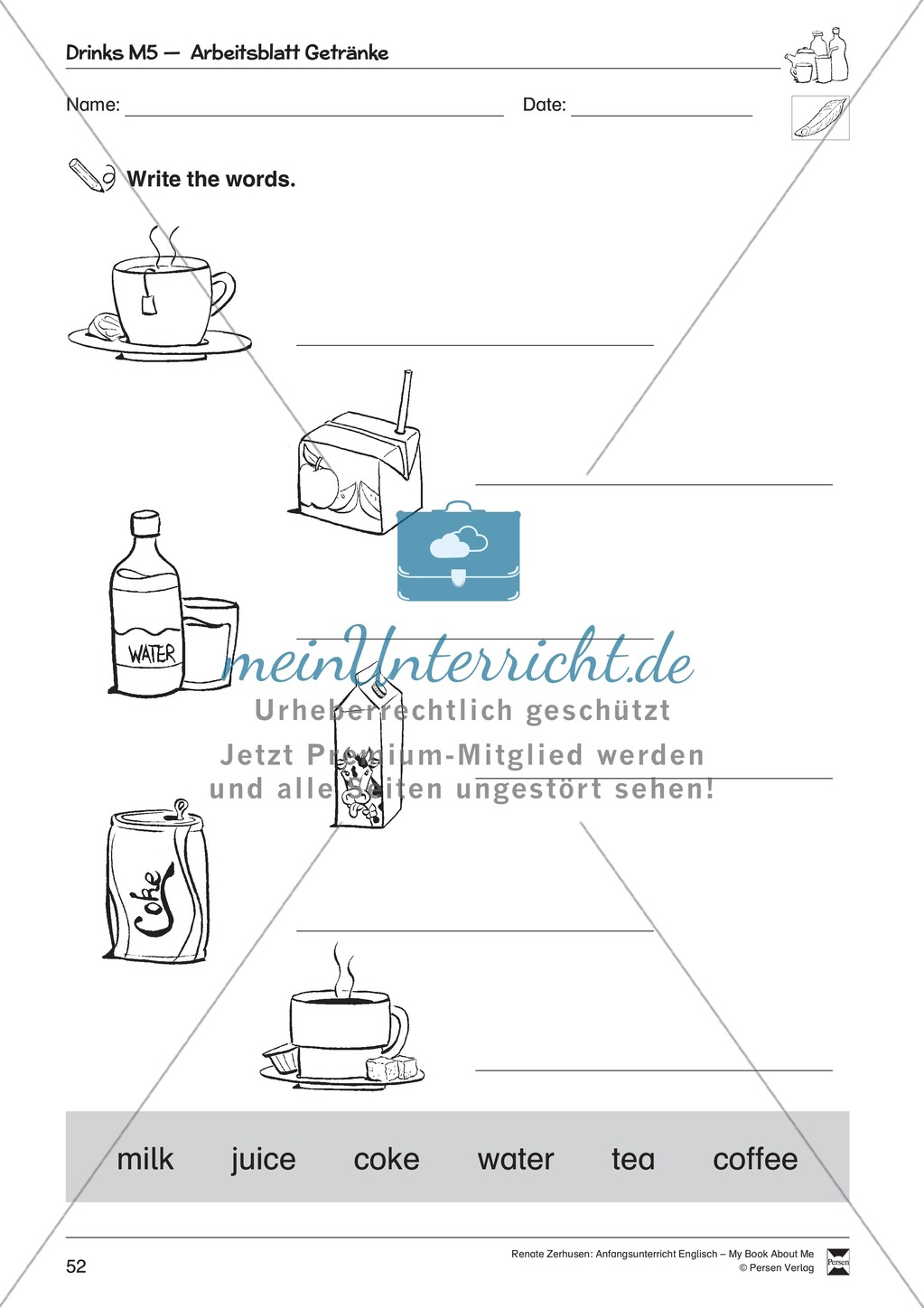 Drinks vocabulary: Worksheets on drinks (Binnendifferenziert) Preview 8