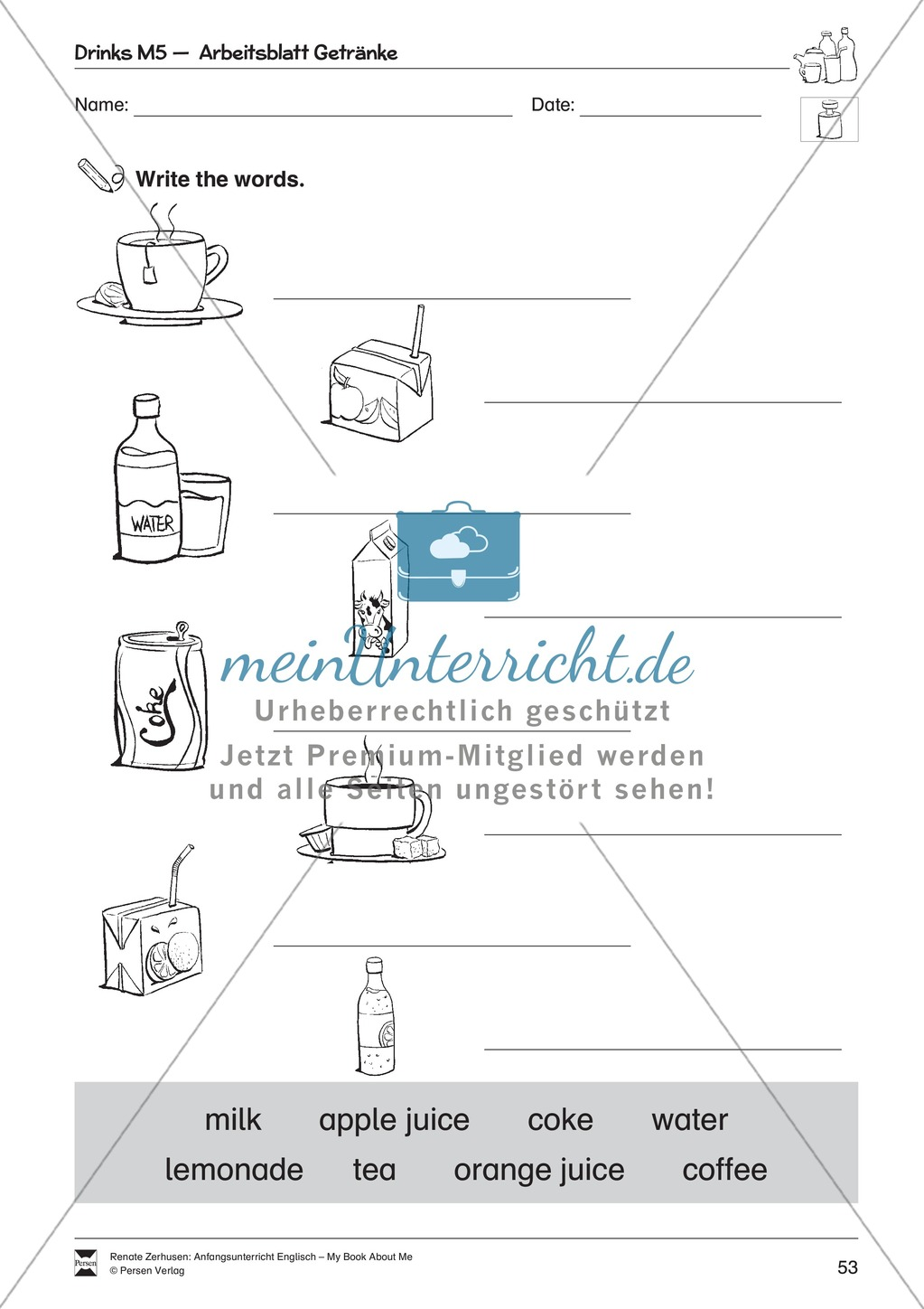 Drinks vocabulary: Worksheets on drinks (Binnendifferenziert) Preview 9