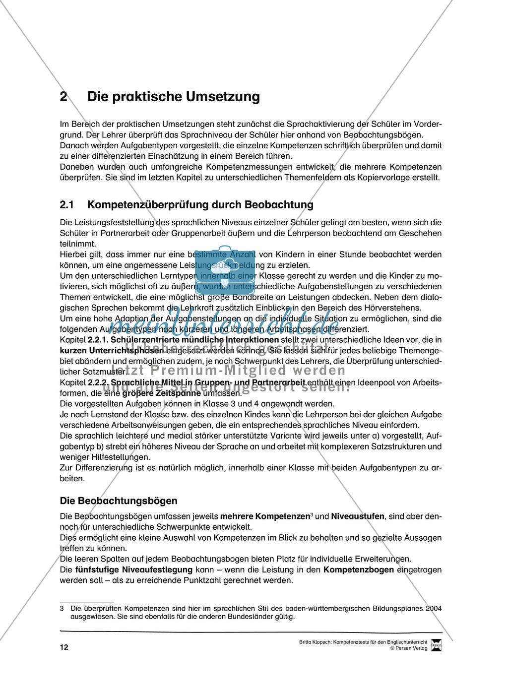 Die praktische Umsetzung - Kompetenzüberprüfung durch Beobachtung: Vorgehensweise + Beobachtungsbögen Preview 0