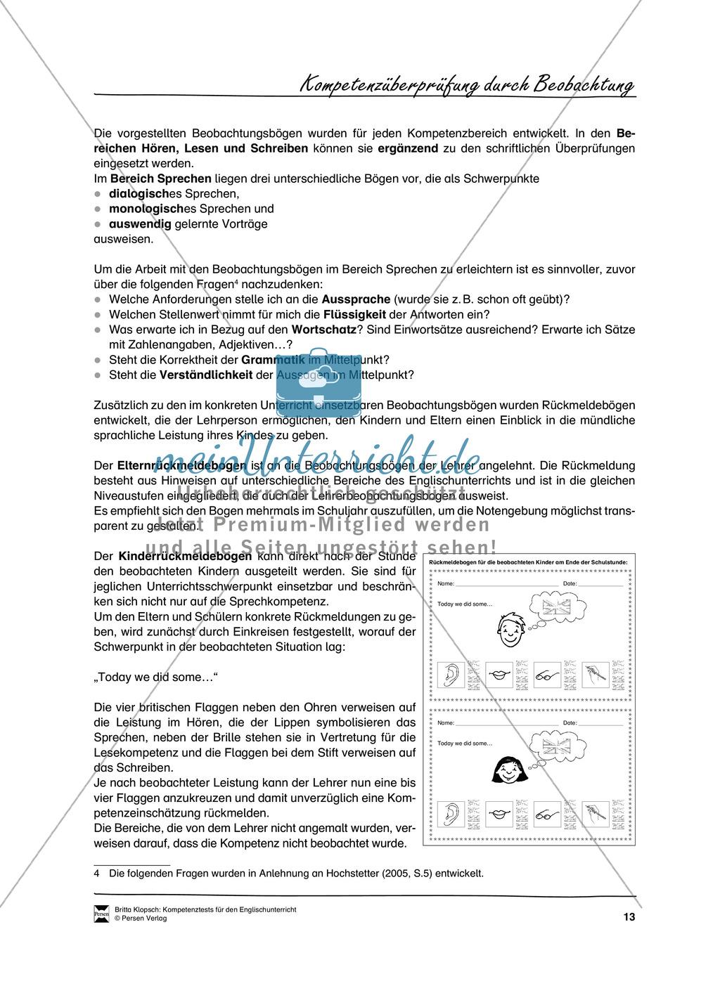 Die praktische Umsetzung - Kompetenzüberprüfung durch Beobachtung: Vorgehensweise + Beobachtungsbögen Preview 1