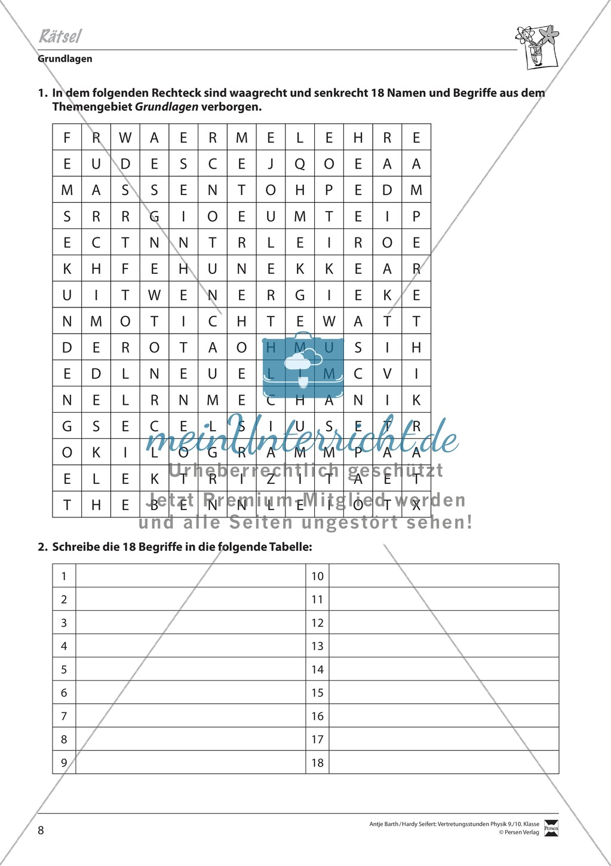 Suchrätsel zu physikalischen Begriffen (Grundlagen) Preview 1