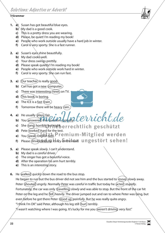 Vertretungsstunden Englisch - 7. Klasse: Übungen zur Grammatik + ...
