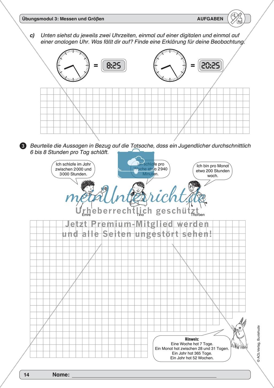 arithmetik bungsmodul zu messen und gr en uhrzeiten. Black Bedroom Furniture Sets. Home Design Ideas