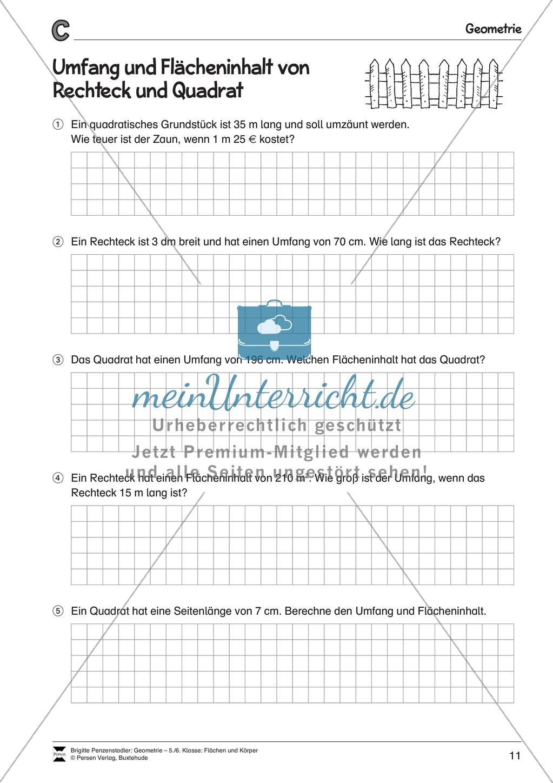 Umfang und Flächeninhalt von Rechteck und Quadrat Preview 3