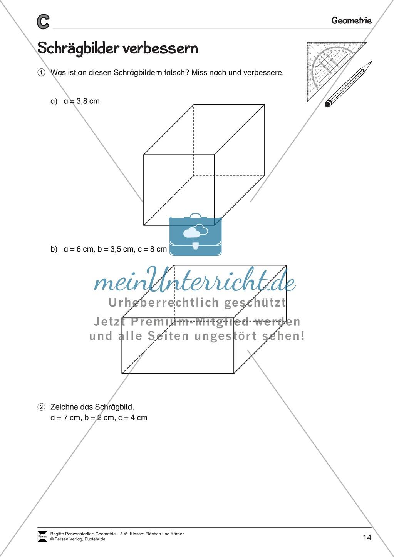 Arbeitsblatt Schrägbilder Xl : Schrägbilder zeichnen meinunterricht