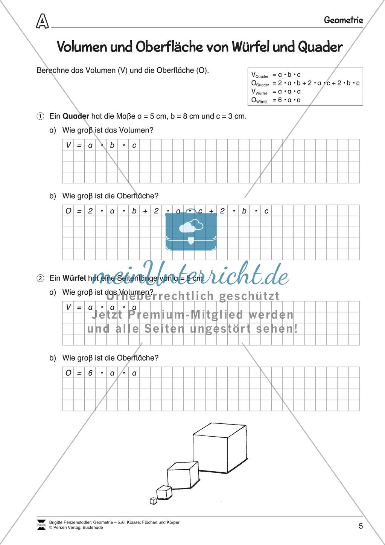 Volumen und Oberfläche von Würfel und Quader - meinUnterricht