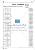 Bruchrechnung: Arbeitsblätter zur Addition und Subtraktion von Brüchen. Mit Lösungen. Preview 4