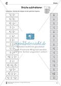 Bruchrechnung: Arbeitsblätter zur Addition und Subtraktion von Brüchen. Mit Lösungen. Preview 6