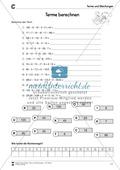 Algebra: Terme durch Operatoren berechnen - Aufgaben mit Lösungen Preview 3