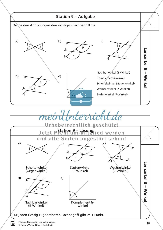Koordinatensystem Winkel Arbeitsblatt : Lernzirkel zu winkeln winkelarten griechische buchstaben