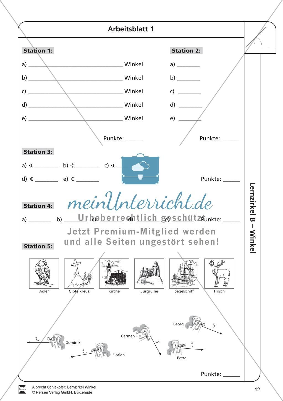 Lernzirkel zu Winkeln: Winkelarten, griechische Buchstaben, Winkel ...