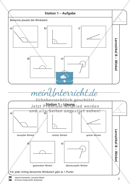 Lernzirkel Zu Winkeln Winkelarten Griechische Buchstaben Winkel