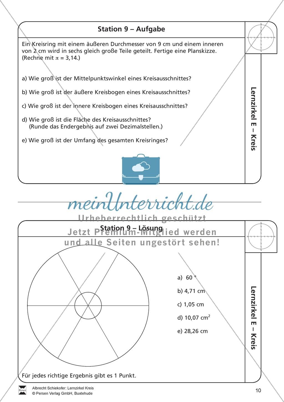 Ausgezeichnet Geometrie Arbeitsblatt Mit Kreisfläche Und Umfang V ...