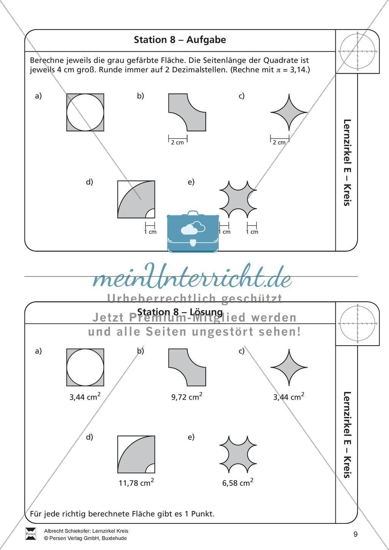 Lernzirkel zu Kreisen: Begriffe, zeichnen, Berechnung von Radius + ...