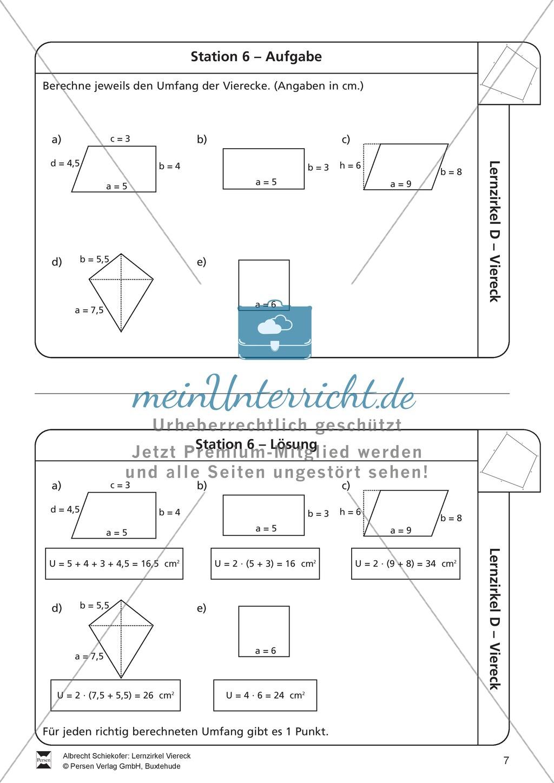 Lernzirkel zu Vierecken und anschließendem Arbeitsblatt - meinUnterricht