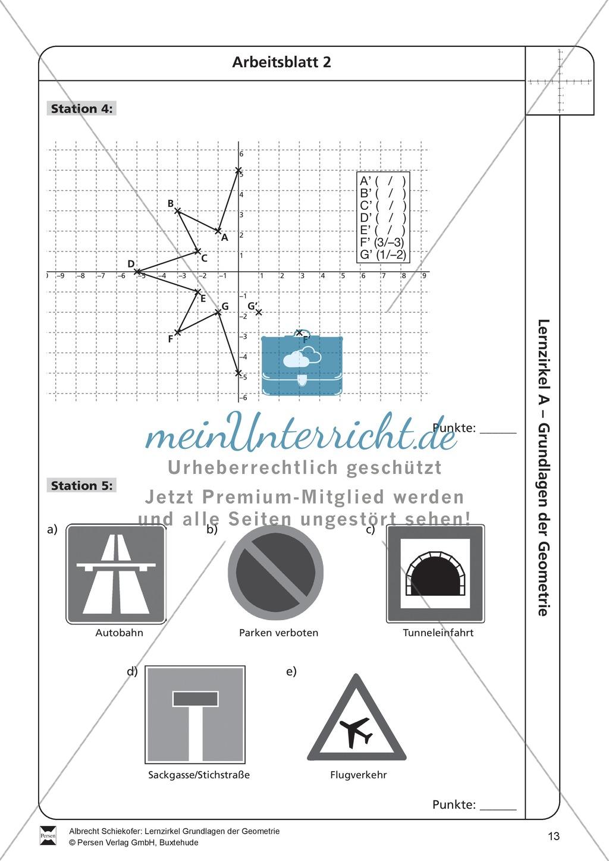 Arbeitsblatt Koordinatensystem Lagu : Lernzirkel zu grundlagen der geometrie koordinatensystem