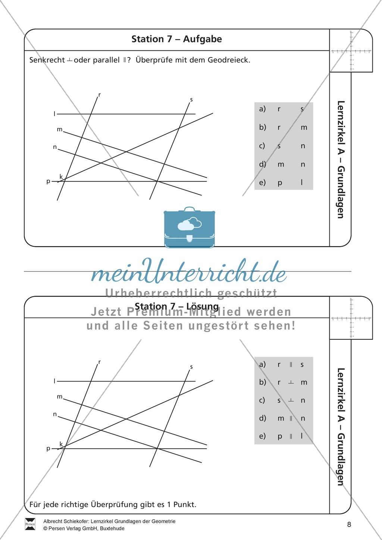 lernzirkel zu grundlagen der geometrie koordinatensystem