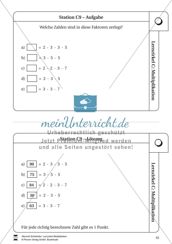 Lernzirkel Multiplikation: Fachausdrücke, Vielfache, Kommasetzen ...
