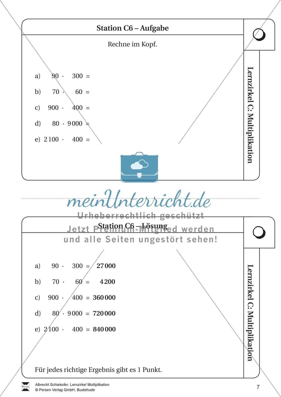 Lernzirkel Multiplikation: Fachausdrücke, Vielfache