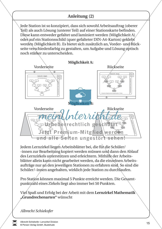 Lernzirkel Division: Fachausdrücke, Teilbarkeit, Division von ...