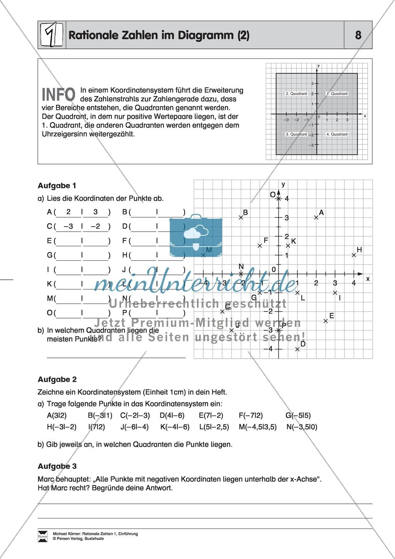 Rationale Zahlen im Diagramm - Informationen aus Diagrammen entnehmen, Koordinaten bestimmen und Punkte in ein Koordinatensystem einzeichnen Preview 2