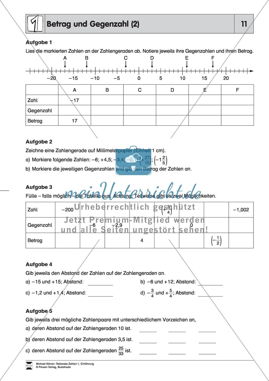 Rationale Zahlen: Betrag und Gegenzahl + Memory zu Gegenzahlen ...