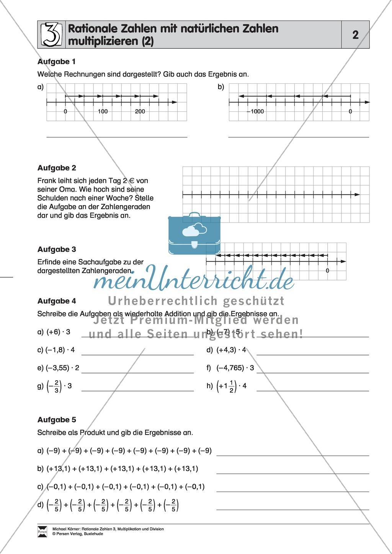 Rationale Zahlen multiplizieren - von der Multiplikation mit ...