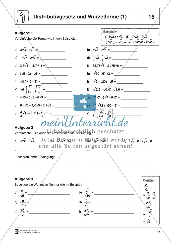Arbeitsblatt Binomische Formeln : Distributivgesetz und wurzelterme binomische formeln