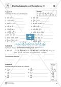 Mathematik, Zahlen & Operationen, wurzeln, Algebra, Distributivgesetz, Terme, binomische Formel