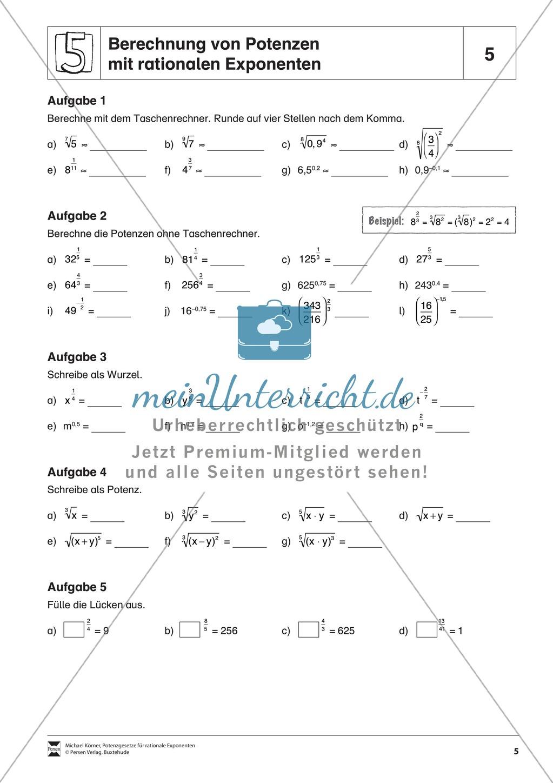 Aufgaben zur Berechnung von Potenzen mit rationalen Exponenten ...
