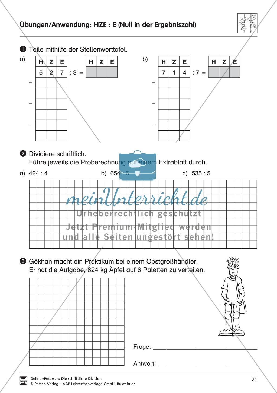 Schriftliche Division: Null in der Ergebniszahl - meinUnterricht