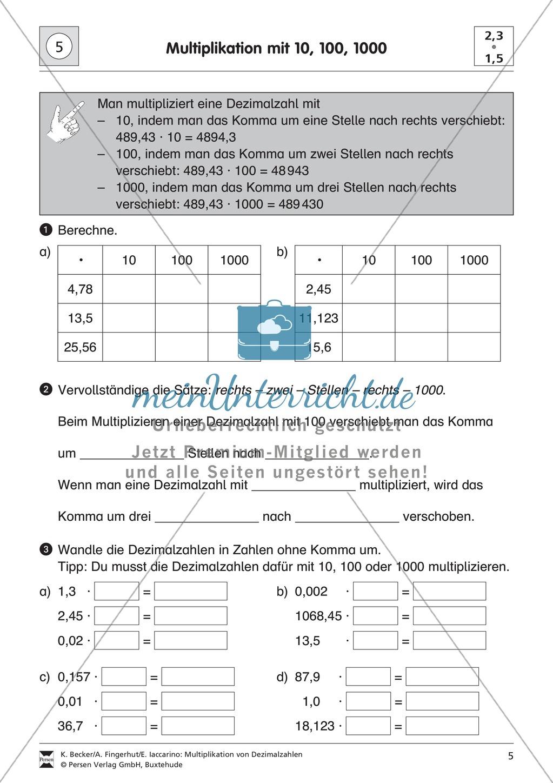 Aufgaben zur Multiplikation von Dezimalzahlen mit 10, 100 und 1000 ...