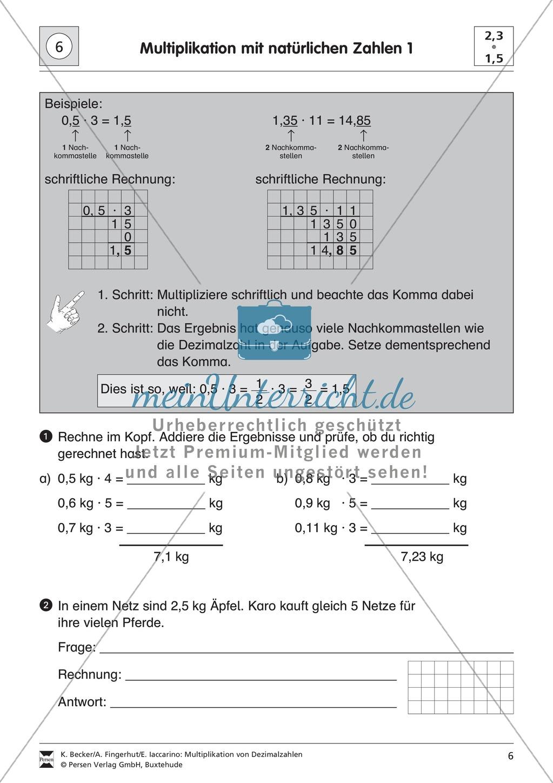 Aufgaben zur Multiplikation von Dezimalzahlen mit natürlichen Zahlen ...