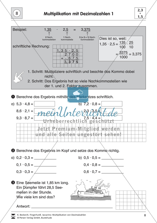 Aufgaben zur Multiplikation von Dezimalzahlen untereinander ...