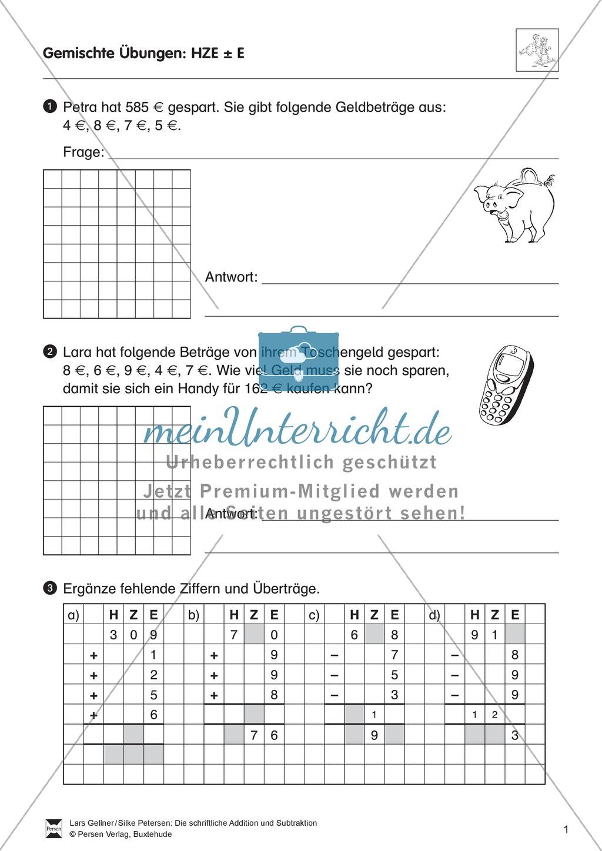 Gemischte Übungen zur schriftlichen Addition und Subtraktion ...