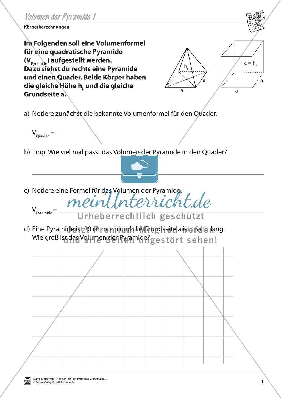 Körperberechnungen: Volumen der Pyramide - meinUnterricht