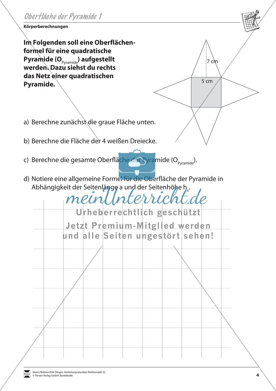 Körperberechnungen: Oberfläche der Pyramide - meinUnterricht
