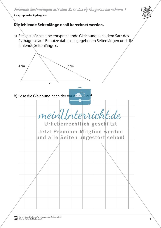 Dreieck: Berechnung einer fehlenden Seitenlänge mit Hilfe des Satzes ...