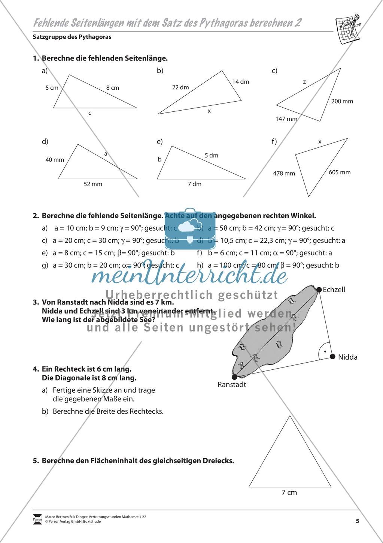 dreieck berechnung einer fehlenden seitenl nge mit hilfe des satzes von pythagoras meinunterricht. Black Bedroom Furniture Sets. Home Design Ideas
