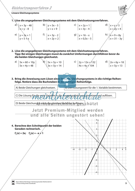 Gleichsetzungsverfahren zur Lösung linearer Gleichungssysteme ...