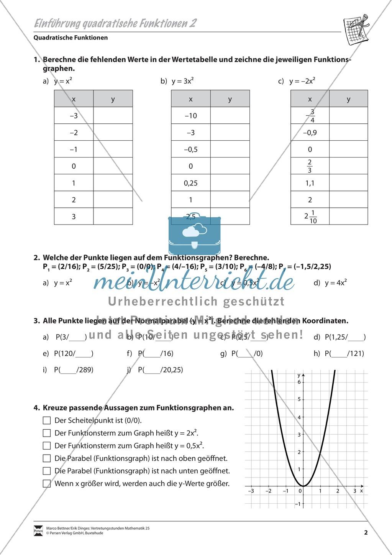 Aufgaben zur Einführung quadratischer Funktionen - meinUnterricht