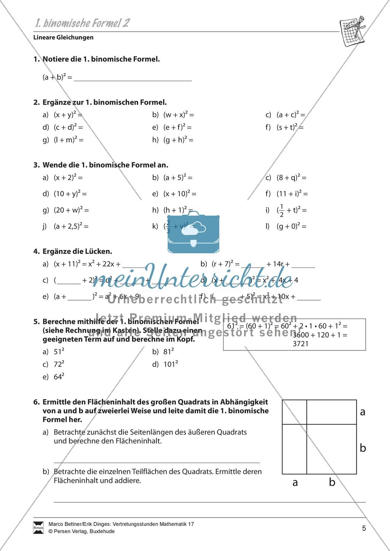 Lineare Gleichungen: Übungen zu den binomischen Formeln - meinUnterricht