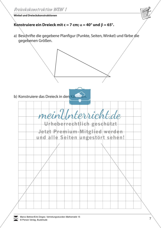 Dreieckskonstruktion unter Angabe von Winkel-Seite-Winkel Preview 0
