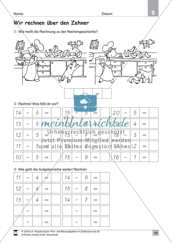 Zahlenraum bis 20: Anschauliche Aufgaben zur Addition und Subtraktion mit Zehnerübergang Preview 9