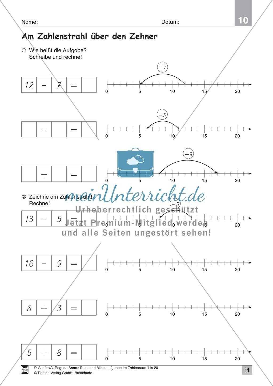 Zahlenraum bis 20: Anschauliche Aufgaben zur Addition und Subtraktion mit Zehnerübergang Preview 10