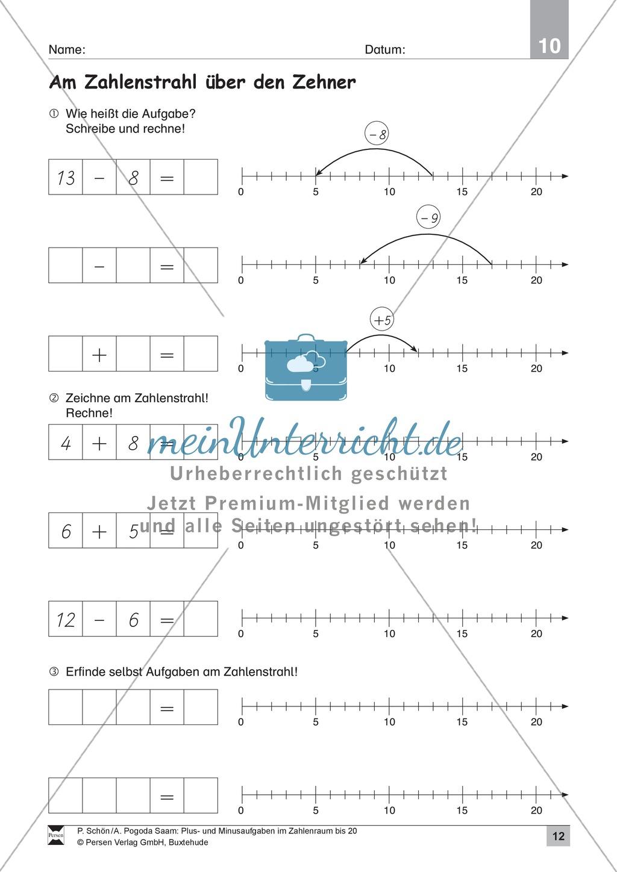 Zahlenraum bis 20: Anschauliche Aufgaben zur Addition und Subtraktion mit Zehnerübergang Preview 11