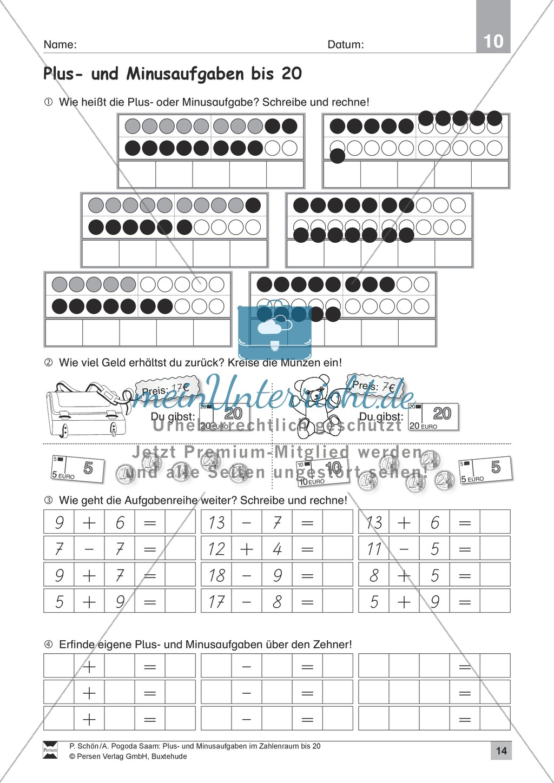 Zahlenraum bis 20: Anschauliche Aufgaben zur Addition und Subtraktion mit Zehnerübergang Preview 13